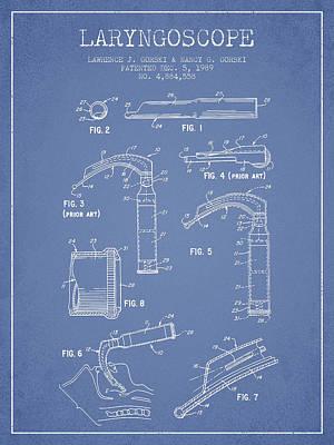 Laryngoscope Patent From 1989 - Light Blue Art Print