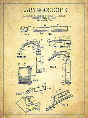 Medical Instrument Digital Art - Laryngoscope Patent From 1989 - Vintage by Aged Pixel