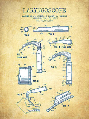 Medical Instrument Digital Art - Laryngoscopy Patent From 1964 - Vintage Paper by Aged Pixel