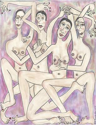 Cuatro Drawing - Las Hijas De Dona Torcida by Lupita Fernandez Soberon