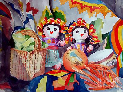 Muneca Painting - Las Muneca Chicas by Kandyce Waltensperger