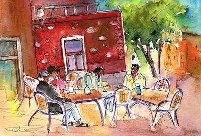 Canary Drawing - Las Palmas De Gran Canaria Cafe by Miki De Goodaboom
