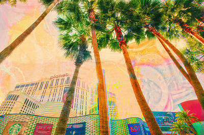 Las Vegas And Palm Trees Art Print