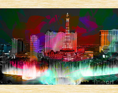 Skylines Mixed Media - Las Vegas Bellagio Painting by Marvin Blaine