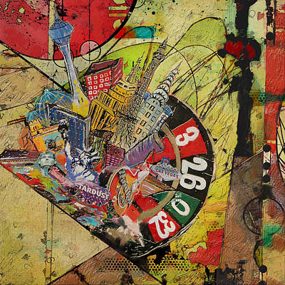 Mixed-media Painting - Las Vegas Collage by Corporate Art Task Force
