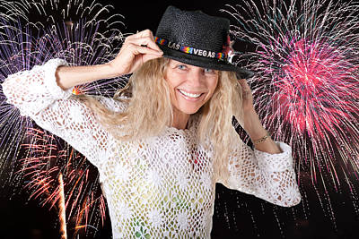 Photograph - Las Vegas Fireworks Party Woman by Gunter Nezhoda