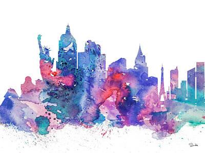 Las Vegas Art Painting - Las Vegas  by Watercolor Girl