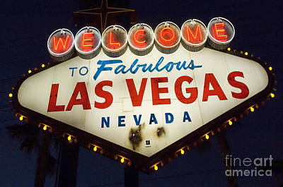 Freemont Street Photograph - Welcome To Fabulous Las Vegas Nevada Sign  by Bob Christopher