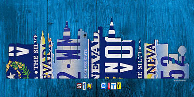 Skyline Mixed Media - Las Vegas Nevada City Skyline License Plate Art On Wood by Design Turnpike
