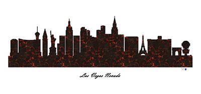 Las Vegas Nevada Molten Lava Skyline Art Print by Gregory Murray