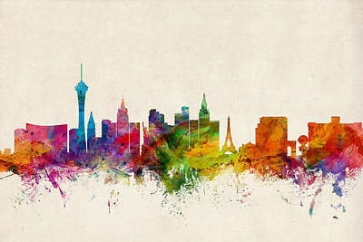 Watercolour Digital Art - Las Vegas Nevada Skyline by Michael Tompsett