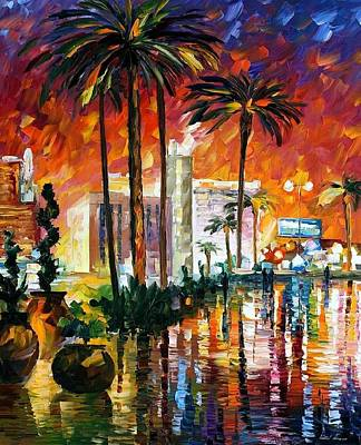 Las Vegas - Palette Knife Oil Painting On Canvas By Leonid Afremov Original by Leonid Afremov