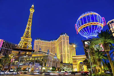 Photograph - Las Vegas, Paris Las Vegas And The by Sylvain Sonnet