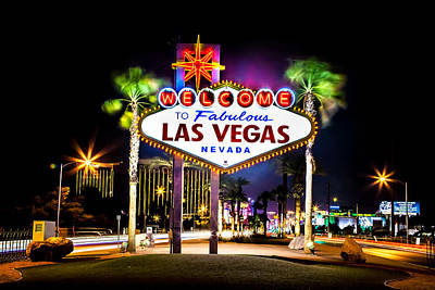 Nighttime Street Photography - Las Vegas Sign by Az Jackson