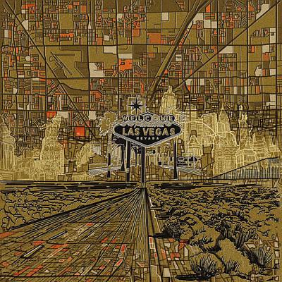 Las Vegas Art Painting - Las Vegas Skyline Abstract 2 by Bekim Art