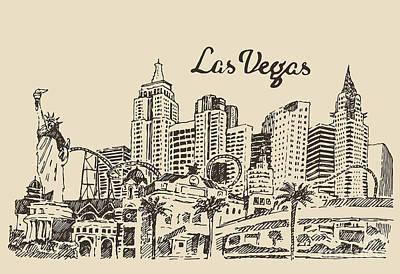 Businesses Wall Art - Digital Art - Las Vegas Skyline, Big City by Grop