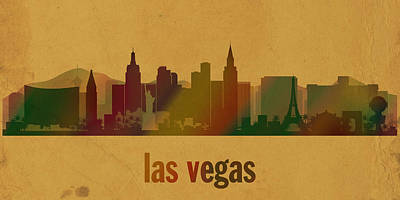 Las Vegas Skyline Watercolor On Parchment Art Print