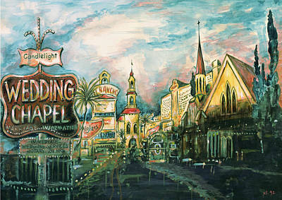 Painting - Las Vegas Strip - Watercolor by Art America Gallery Peter Potter