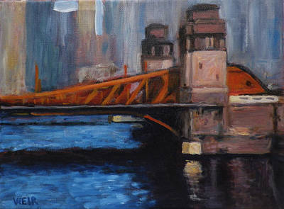 Trussed Painting - Lasalle Avenue Bridge Chicago by Chris Weir