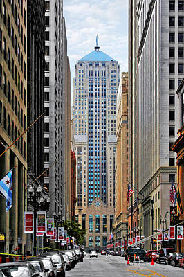 Stock Photograph - Lasalle Street Chicago - Wall Street Of The Midwest by Christine Till