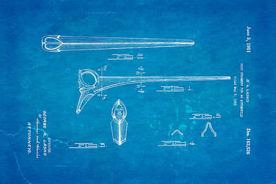 Lasko Hood Ornament Patent Art 1951 Blueprint Art Print by Ian Monk