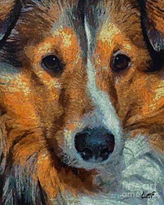 Portrait Painting - Lassie - Rough Collie by Dragica  Micki Fortuna
