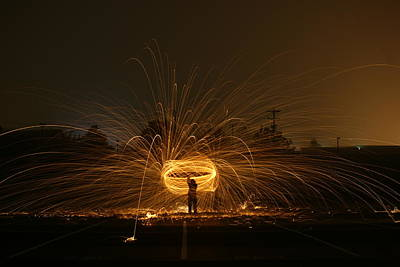 Bouncing Light Photograph - Lasso Fire Cowboy   # by Rob Luzier