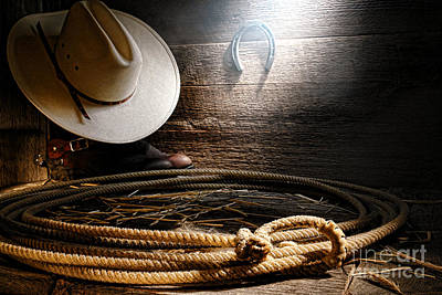 Rawhide Photograph - Lasso In Old Barn by Olivier Le Queinec