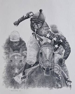 Racetrack Drawing - Last Call by Tony Ruggiero