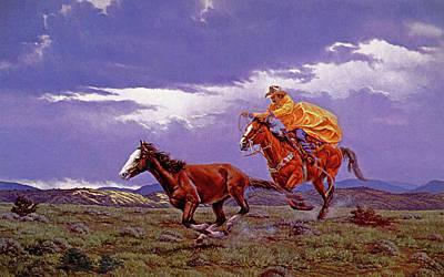 Working Cowboy Painting - Last Dash For Freedom by Randy Follis