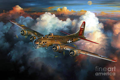 Military Aviation Art Painting - Last Flight For Nine-o-nine by Randy Green