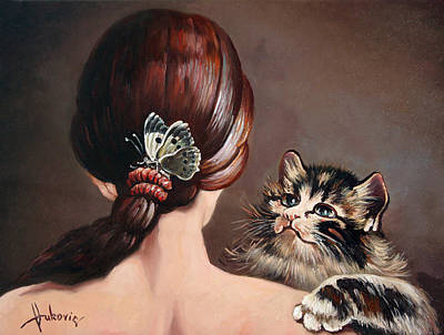 Figurativ Painting - Last Game Of Butterflies by Dusan Vukovic