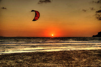 Art Print featuring the photograph Last Glipses Of Sun At Prasonisi Bay by Julis Simo