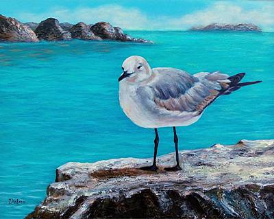 Cancun Painting - Last Gull Standing by Susan DeLain
