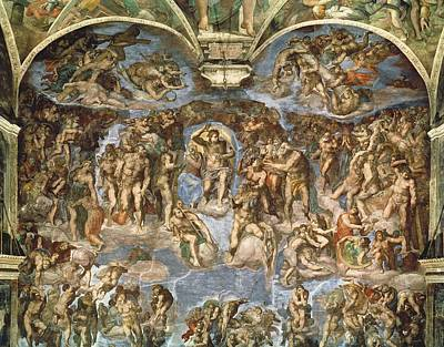 Last Judgement, From The Sistine Chapel, 1538-41 Fresco Art Print by Michelangelo Buonarroti