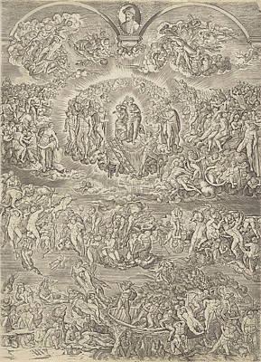 Charon Painting - Last Judgment, Johannes Wierix, Michelangelo by Johannes Wierix And Michelangelo And Martino Rota