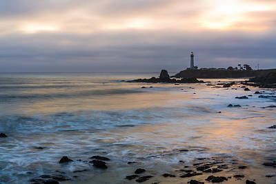 Seascape Photograph - Last Light At Pigeon Point Lighthouse by Priya Ghose