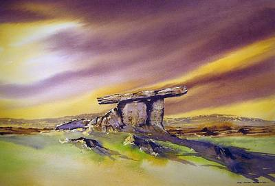 Burren Painting - Last Light At Poulnabrone Dolmen  by Roland Byrne