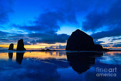 Monolith Photograph - Last Light - Cannon Beach Sunset With Reflection In Oregon The Coast by Jamie Pham