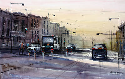 City Scenes Painting - Last Light - College Ave. by Ryan Radke