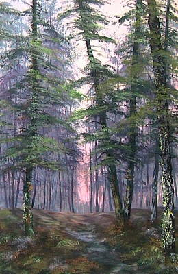 Nightjars Painting - Last Light On Cannock Chase by Jean Walker