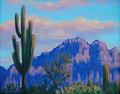 Painting - Last Light On The Superstitions by Cheryl Fecht