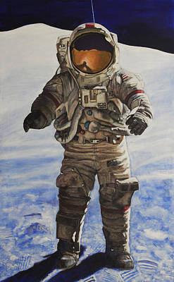 Painting - Last Man - Apollo 17 by Simon Kregar