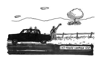 Sheep Drawing - Last-minute Campaign Stop by Michael Crawford