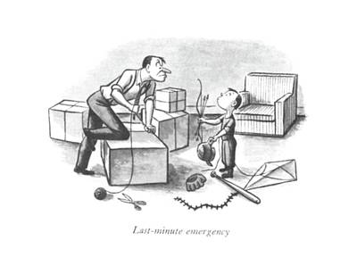 Montage Drawing - Last-minute Emergency by William Steig