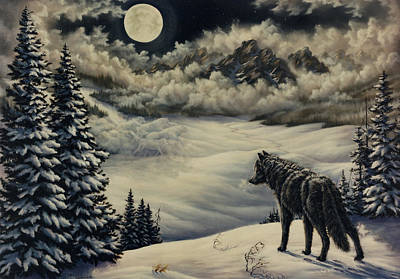 Wolf Pack Painting - Last Of The Pack by Lori Salisbury