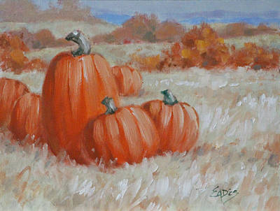 The Color Of Love Painting - Last Of The Pumpkins by Linda Eades Blackburn