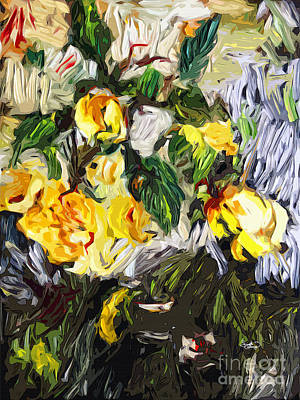 Last Of The Yellow Roses Art Print by Ginette Callaway