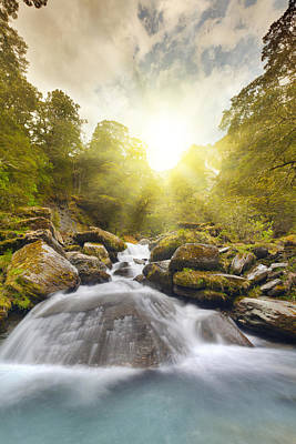 Waterfall Photograph - Last Rays by Alexey Stiop