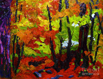 Forest Floor Painting - Last Reds by Charlie Spear